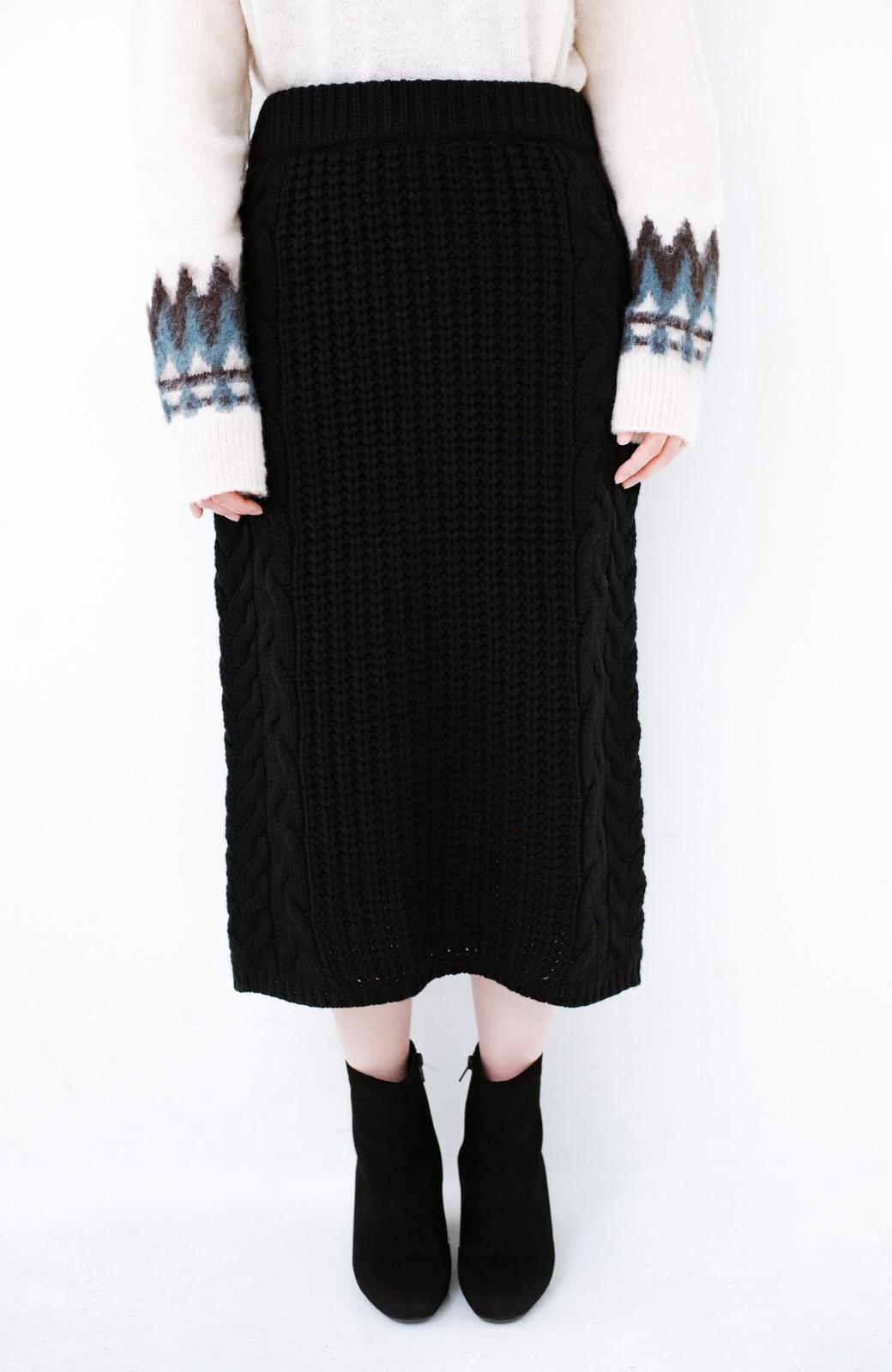 haco! 着るだけで完成するケーブル編みニットセットアップ <ブラック>の商品写真22