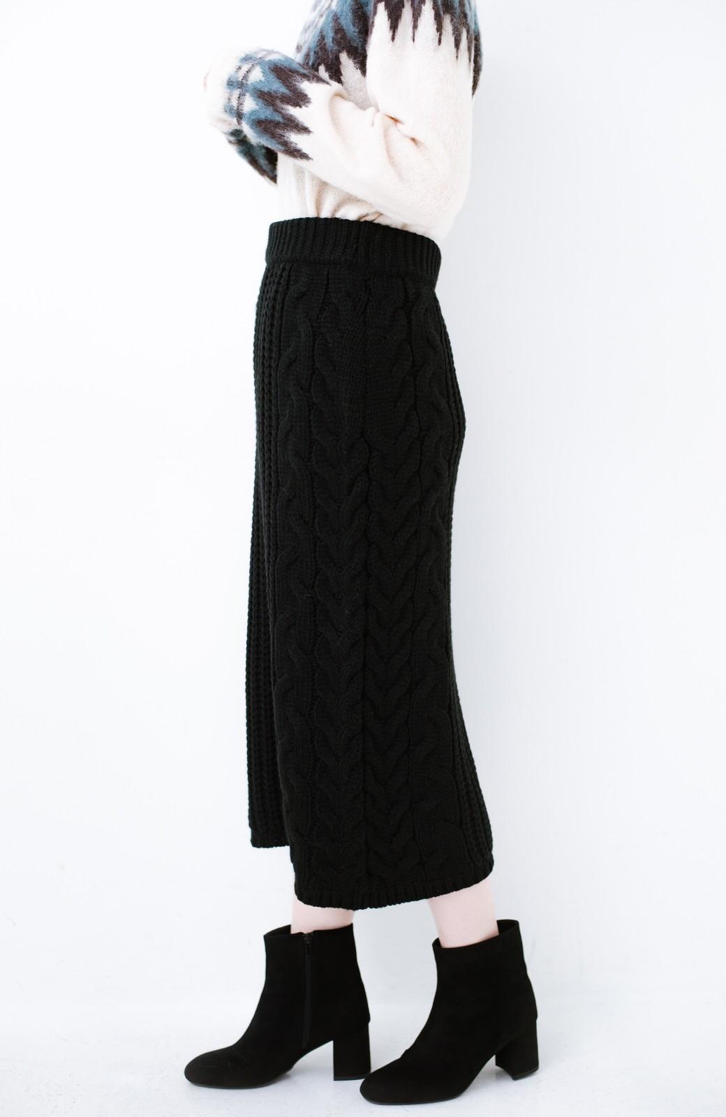 haco! 着るだけで完成するケーブル編みニットセットアップ <ブラック>の商品写真23