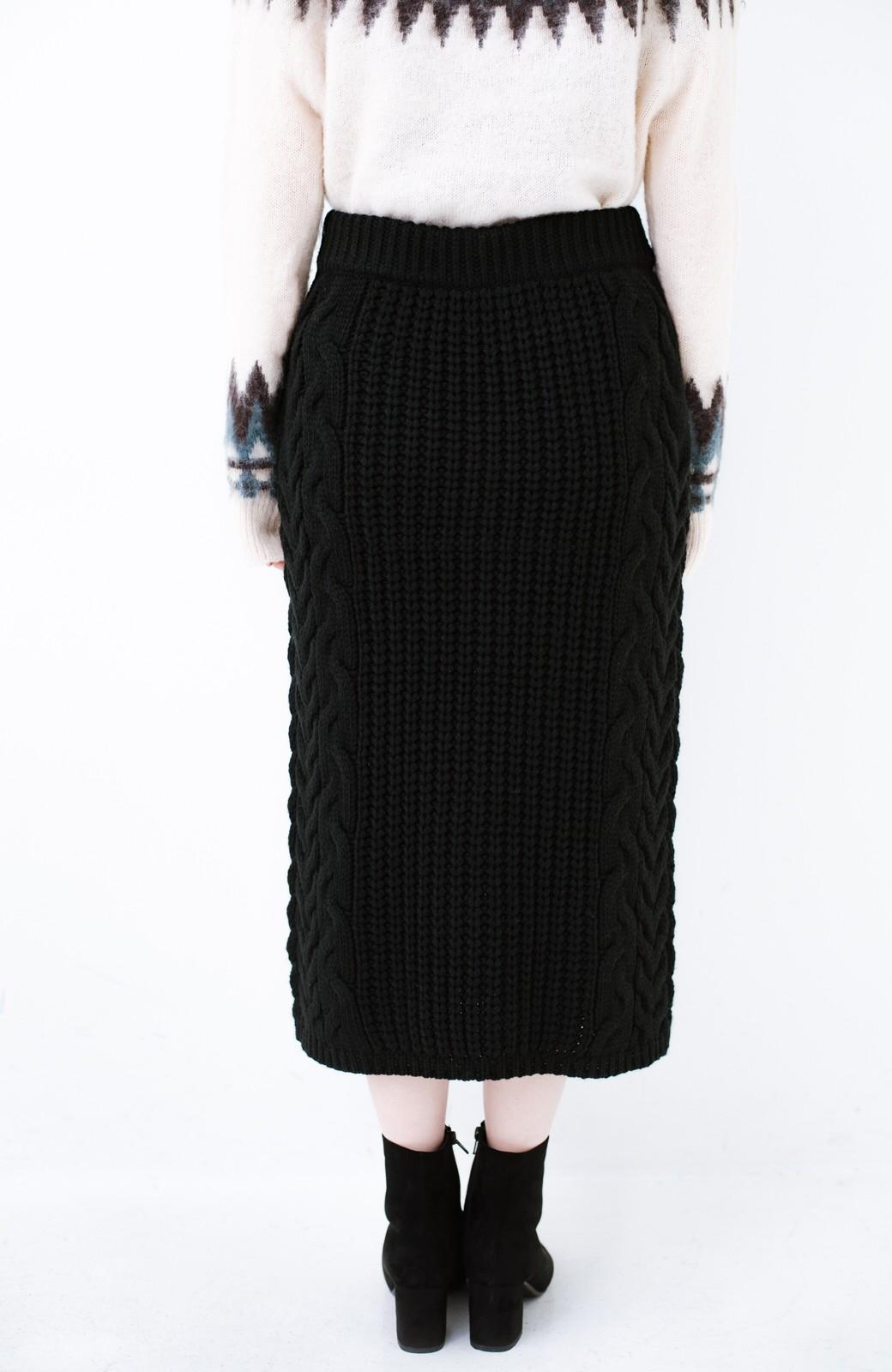 haco! 着るだけで完成するケーブル編みニットセットアップ <ブラック>の商品写真24