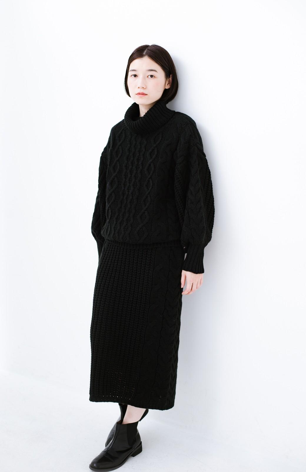 haco! 着るだけで完成するケーブル編みニットセットアップ <ブラック>の商品写真14