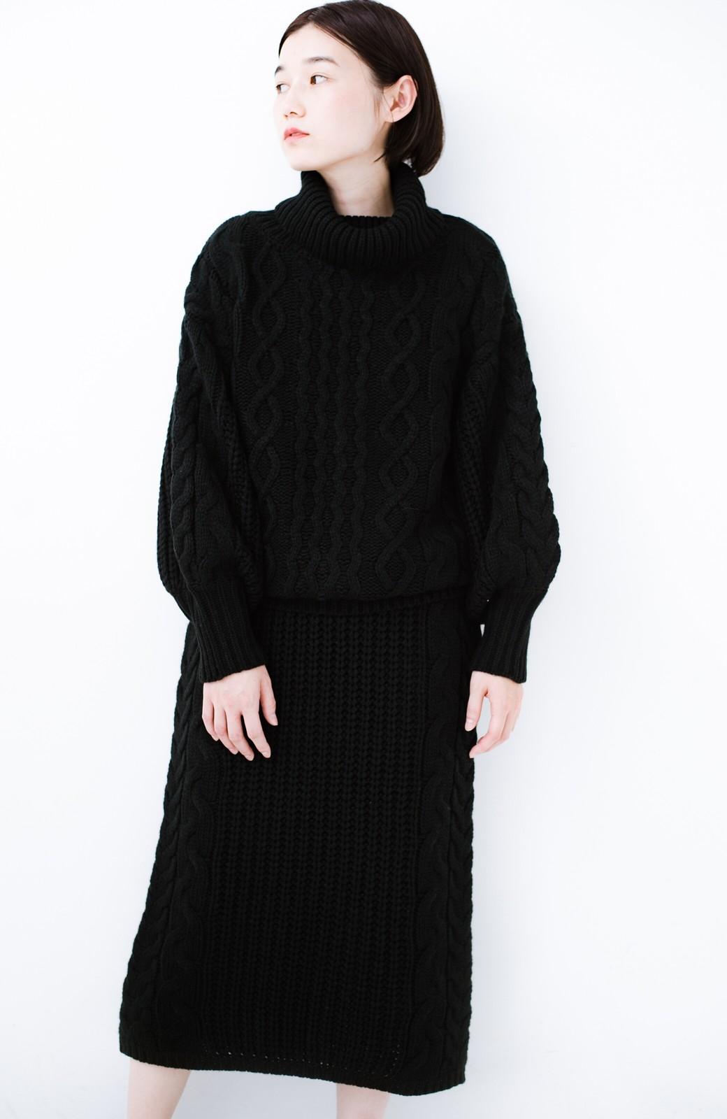 haco! 着るだけで完成するケーブル編みニットセットアップ <ブラック>の商品写真15