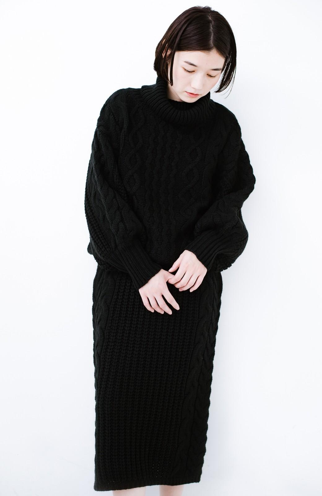 haco! 着るだけで完成するケーブル編みニットセットアップ <ブラック>の商品写真16