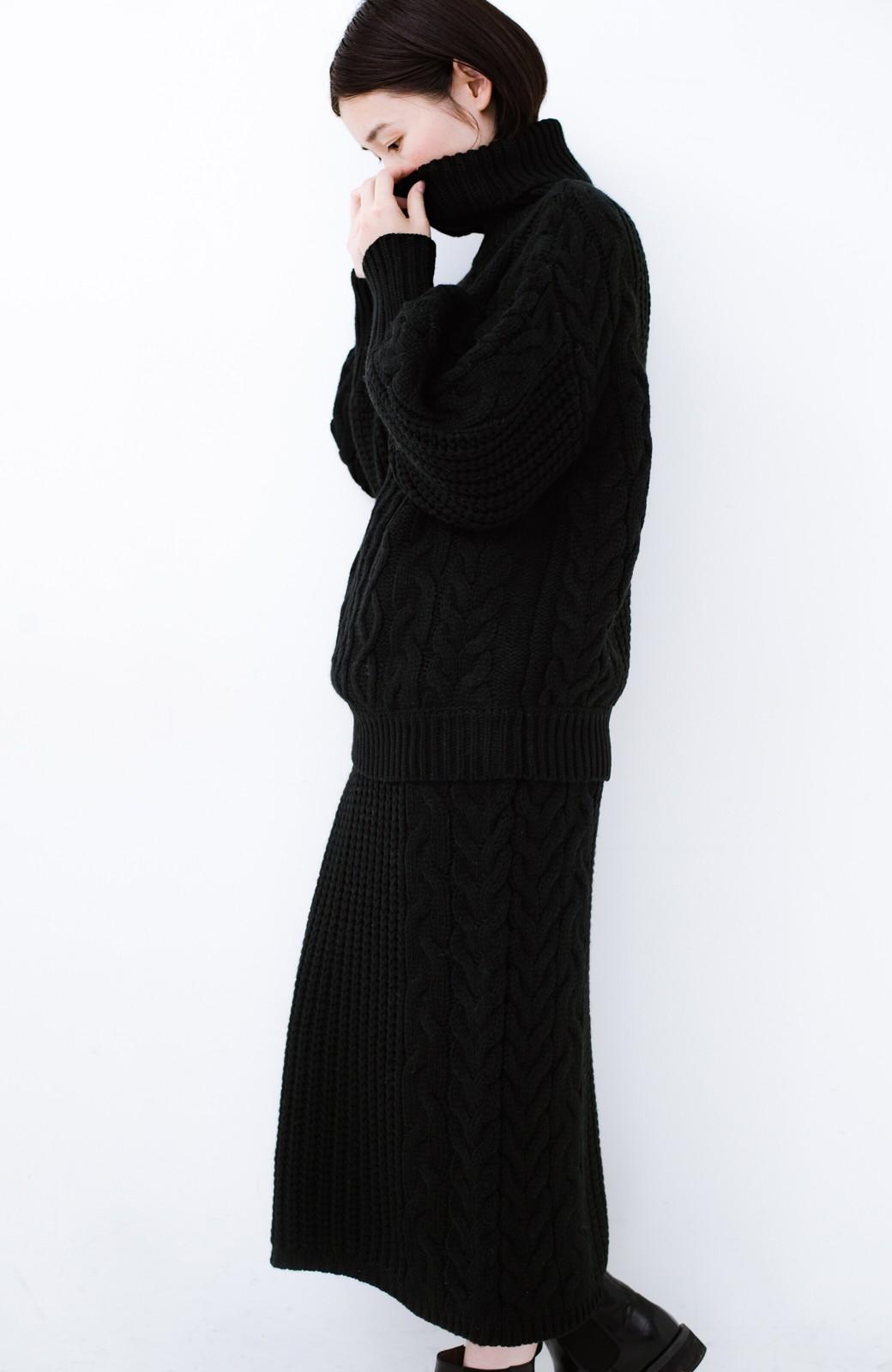 haco! 着るだけで完成するケーブル編みニットセットアップ <ブラック>の商品写真17