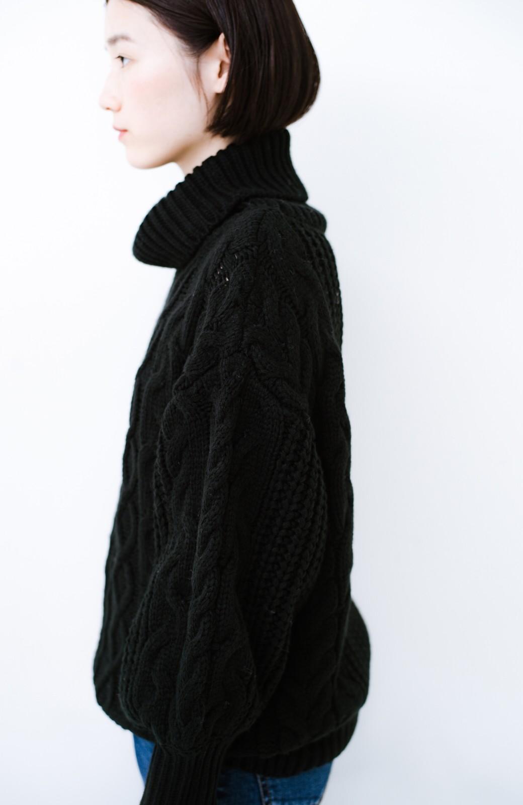 haco! 着るだけで完成するケーブル編みニットセットアップ <ブラック>の商品写真20