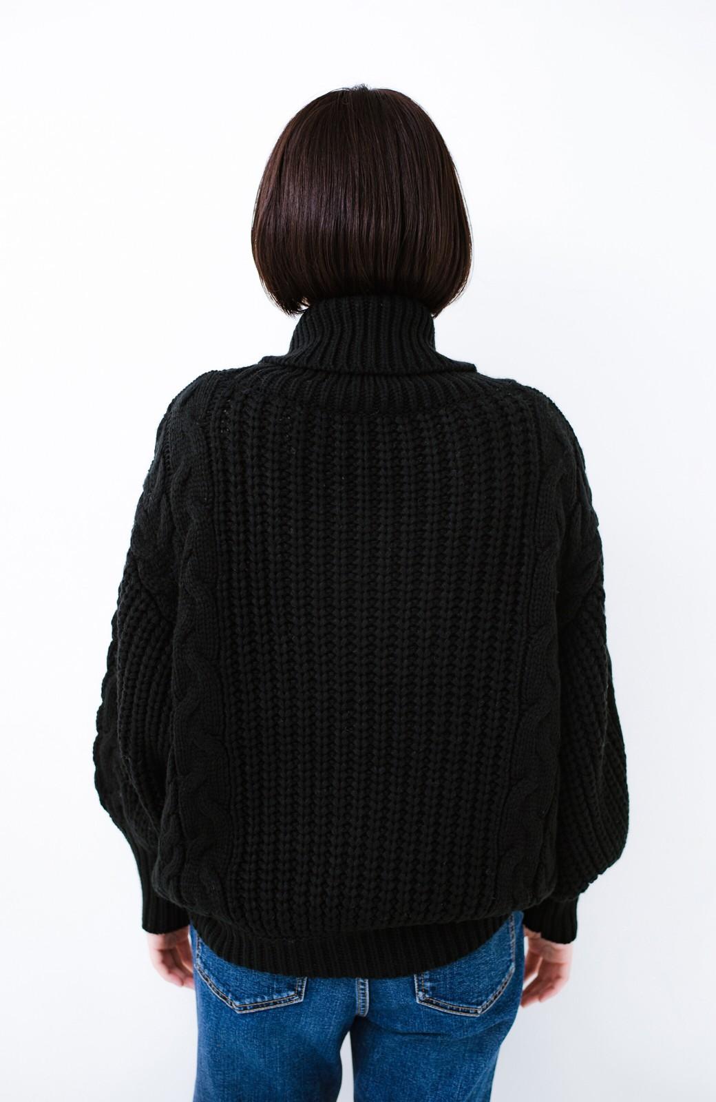 haco! 着るだけで完成するケーブル編みニットセットアップ <ブラック>の商品写真21