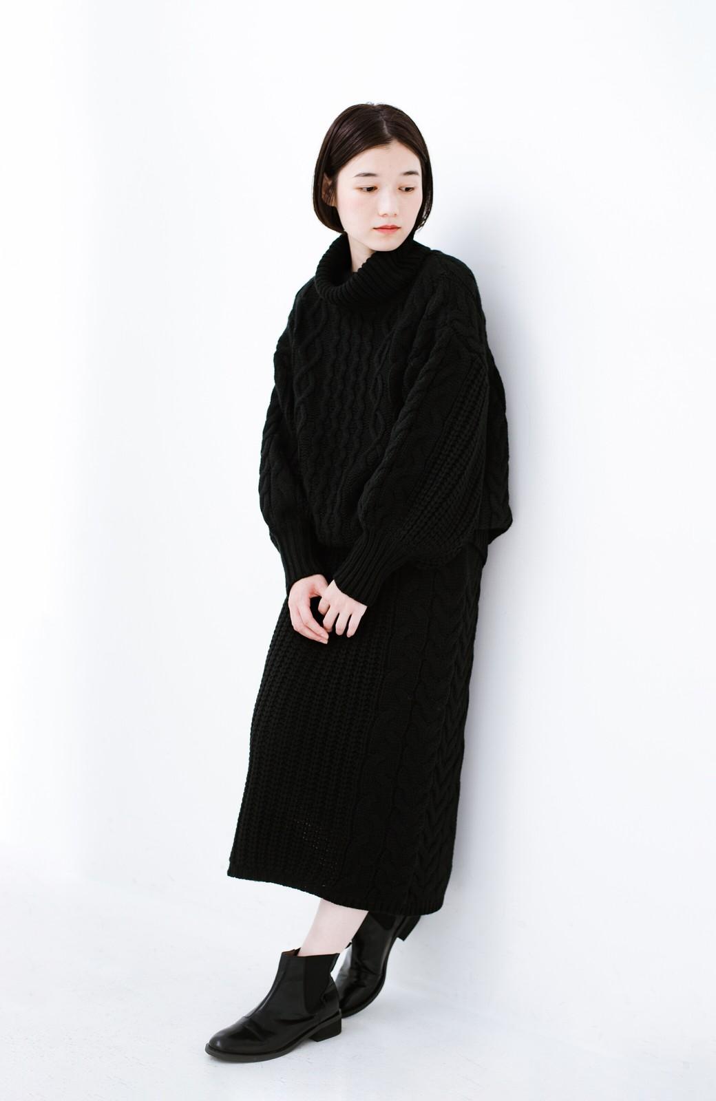 haco! 着るだけで完成するケーブル編みニットセットアップ <ブラック>の商品写真8