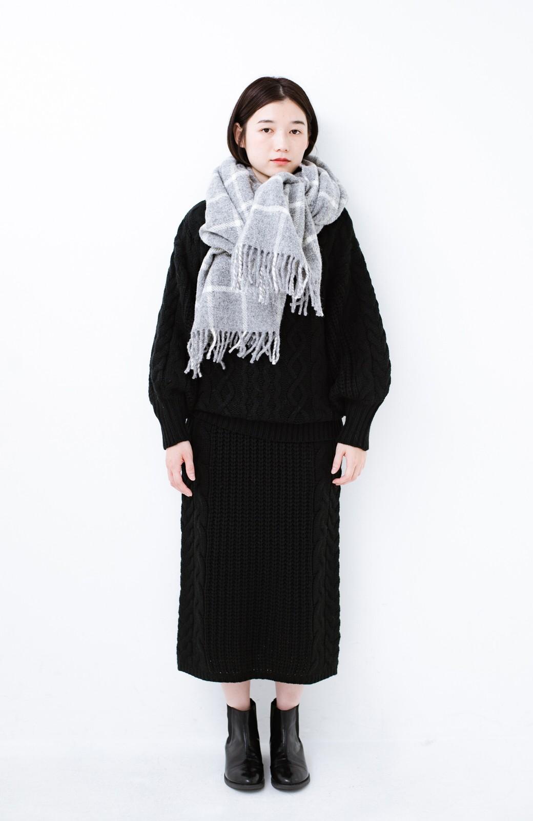 haco! 着るだけで完成するケーブル編みニットセットアップ <ブラック>の商品写真9
