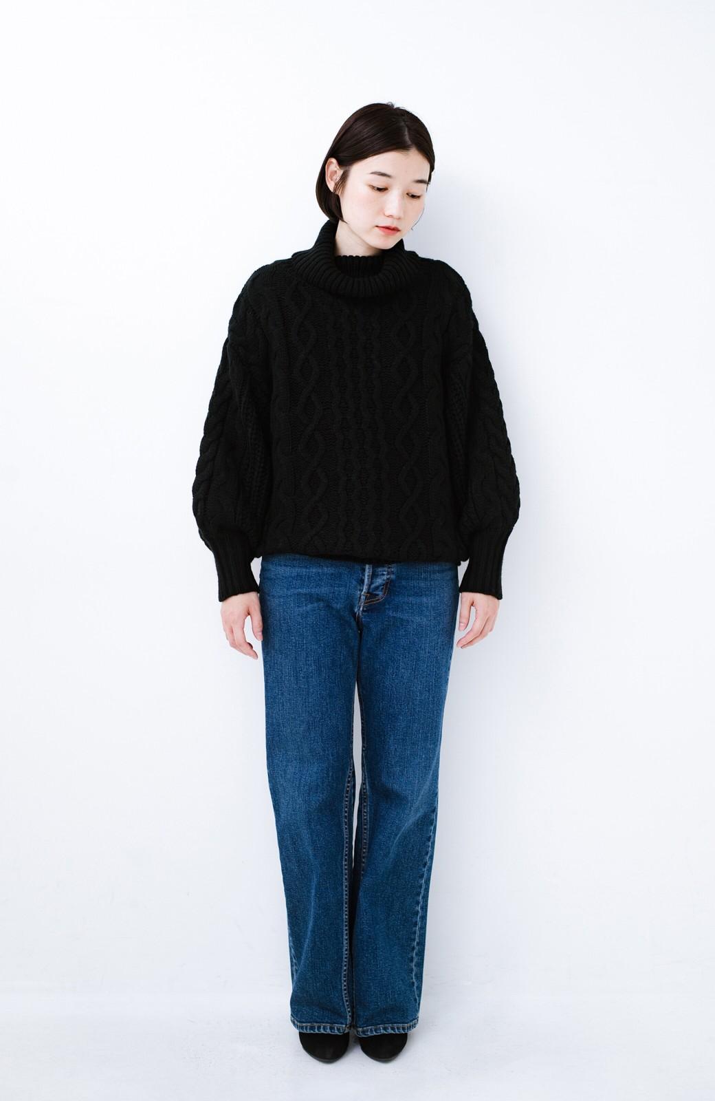 haco! 着るだけで完成するケーブル編みニットセットアップ <ブラック>の商品写真10