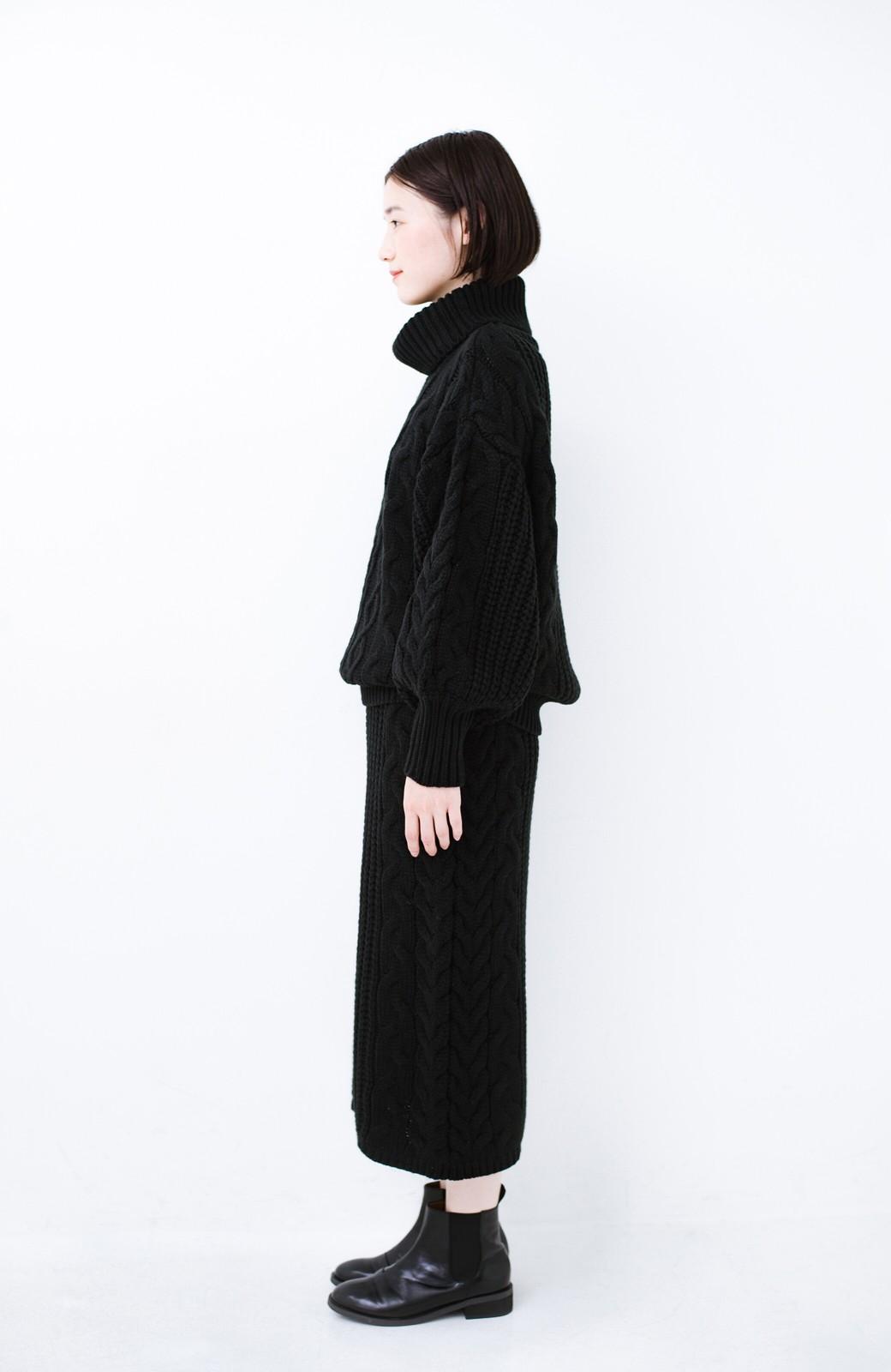 haco! 着るだけで完成するケーブル編みニットセットアップ <ブラック>の商品写真12