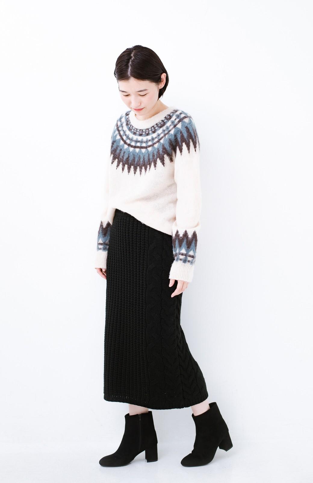 haco! 着るだけで完成するケーブル編みニットセットアップ <ブラック>の商品写真13