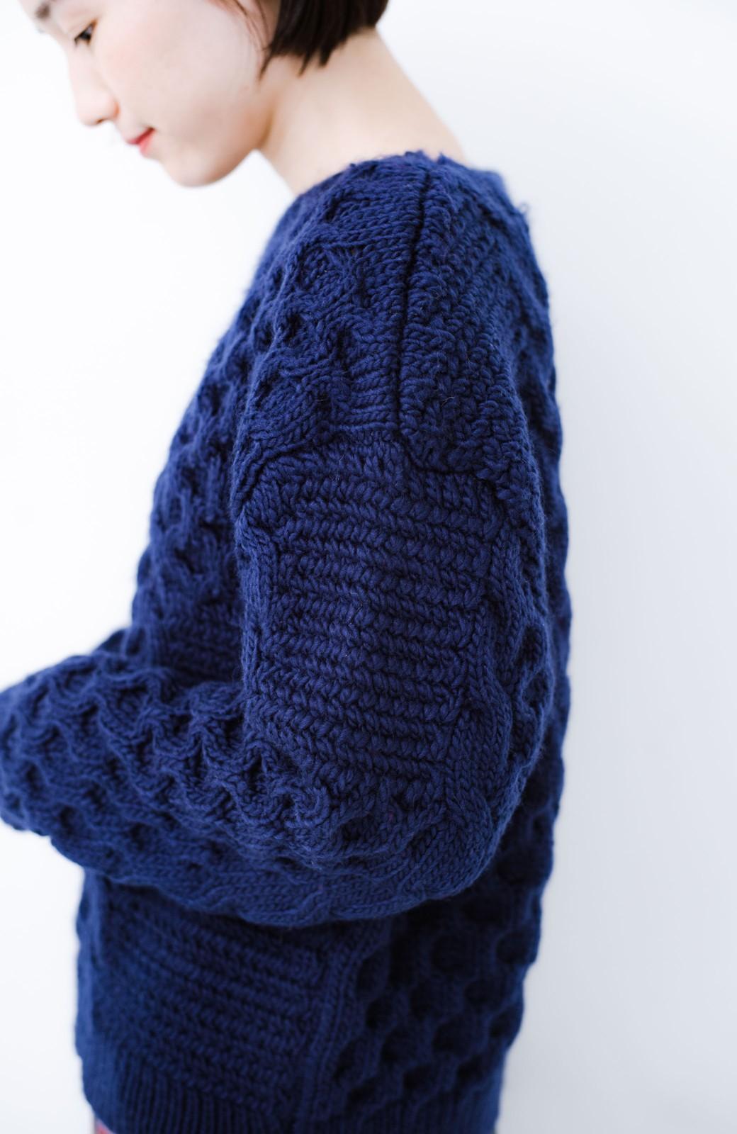 haco! 古着っぽい雰囲気がこなれたパネル編みケーブルニット <ネイビー>の商品写真5