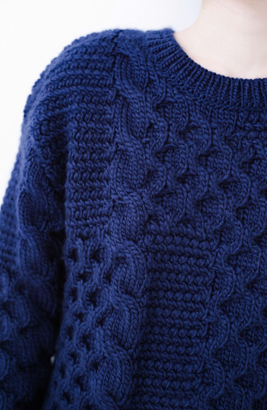 haco! 古着っぽい雰囲気がこなれたパネル編みケーブルニット <ネイビー>の商品写真6