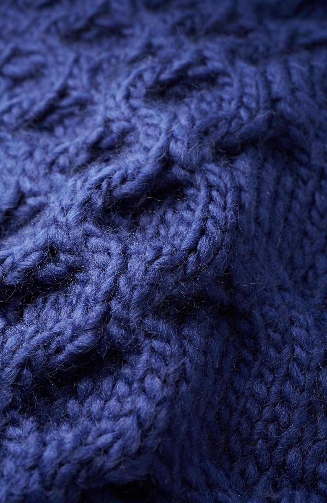 haco! 古着っぽい雰囲気がこなれたパネル編みケーブルニット <ネイビー>の商品写真3
