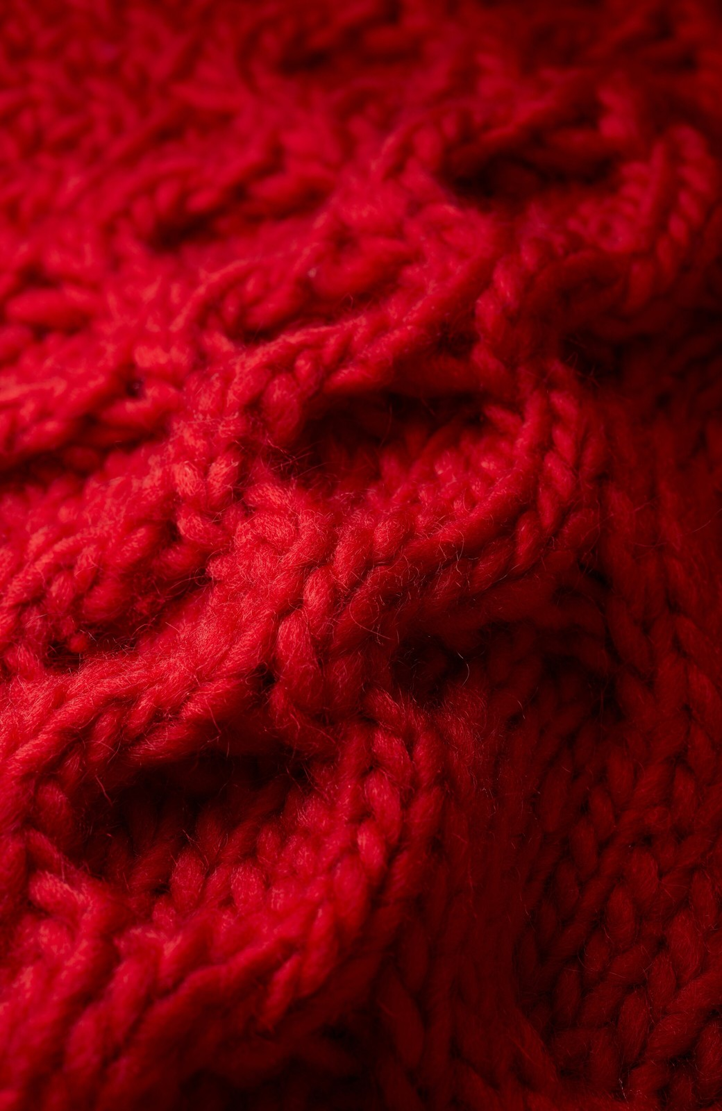 haco! 古着っぽい雰囲気がこなれたパネル編みケーブルニット <レッド>の商品写真2