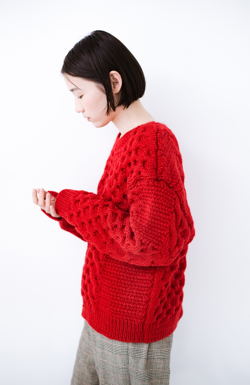 haco! 古着っぽい雰囲気がこなれたパネル編みケーブルニット <レッド>の商品写真12
