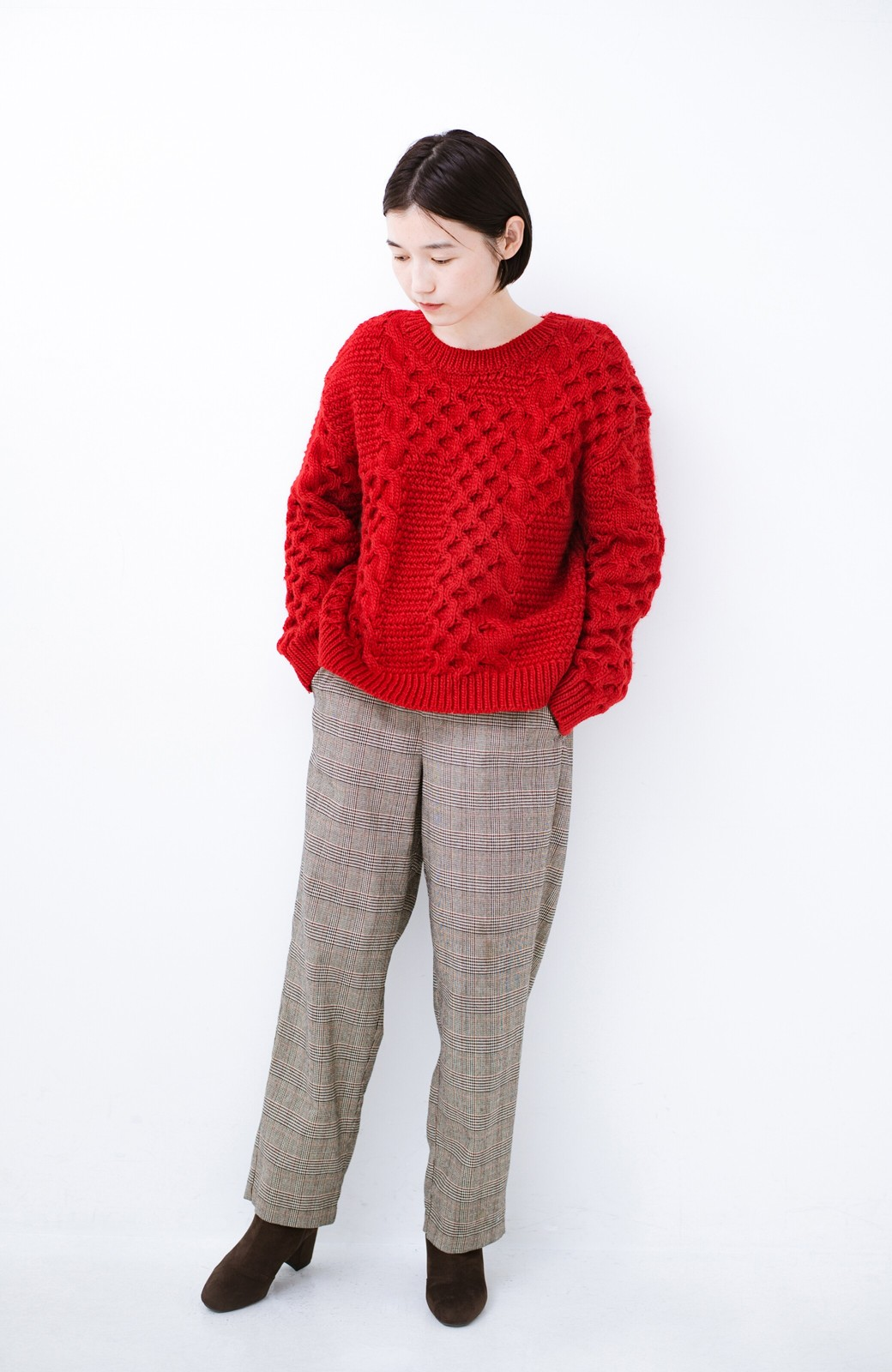 haco! 古着っぽい雰囲気がこなれたパネル編みケーブルニット <レッド>の商品写真7