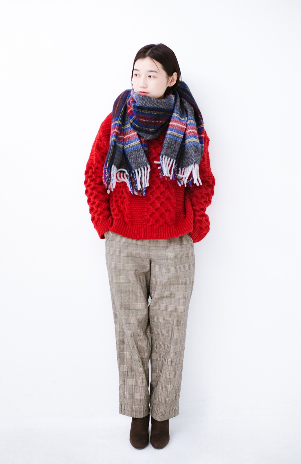 haco! 古着っぽい雰囲気がこなれたパネル編みケーブルニット <レッド>の商品写真8