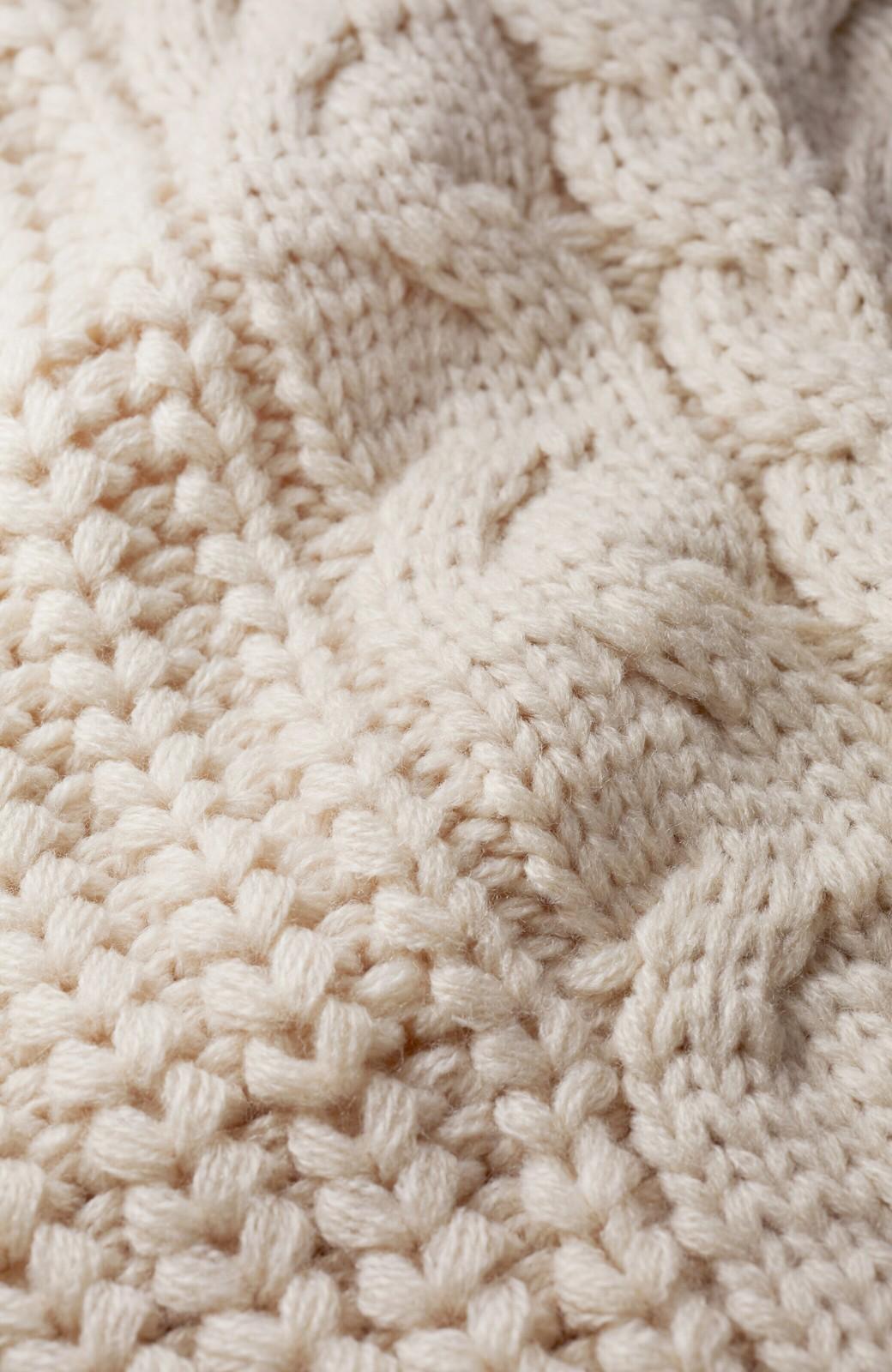 haco! 着るだけで完成するケーブル編みニットセットアップ <ライトベージュ>の商品写真4