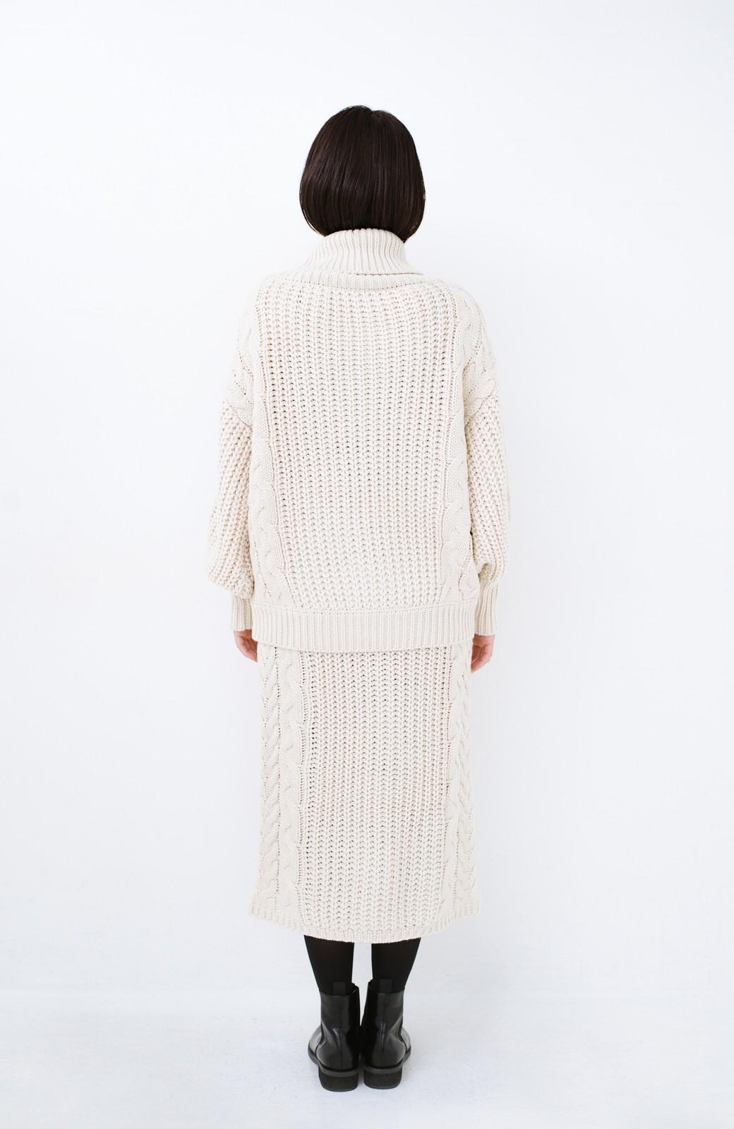 haco! 着るだけで完成するケーブル編みニットセットアップ <ライトベージュ>の商品写真15