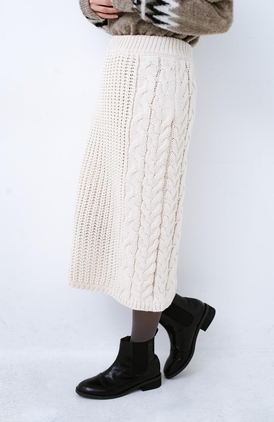 haco! 着るだけで完成するケーブル編みニットセットアップ <ライトベージュ>の商品写真25