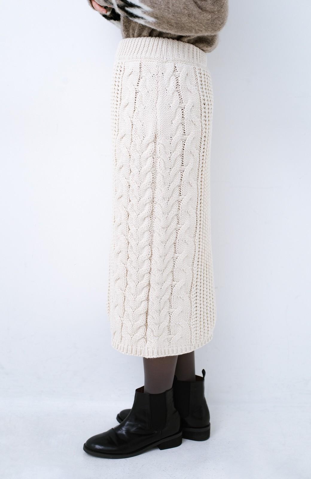 haco! 着るだけで完成するケーブル編みニットセットアップ <ライトベージュ>の商品写真26