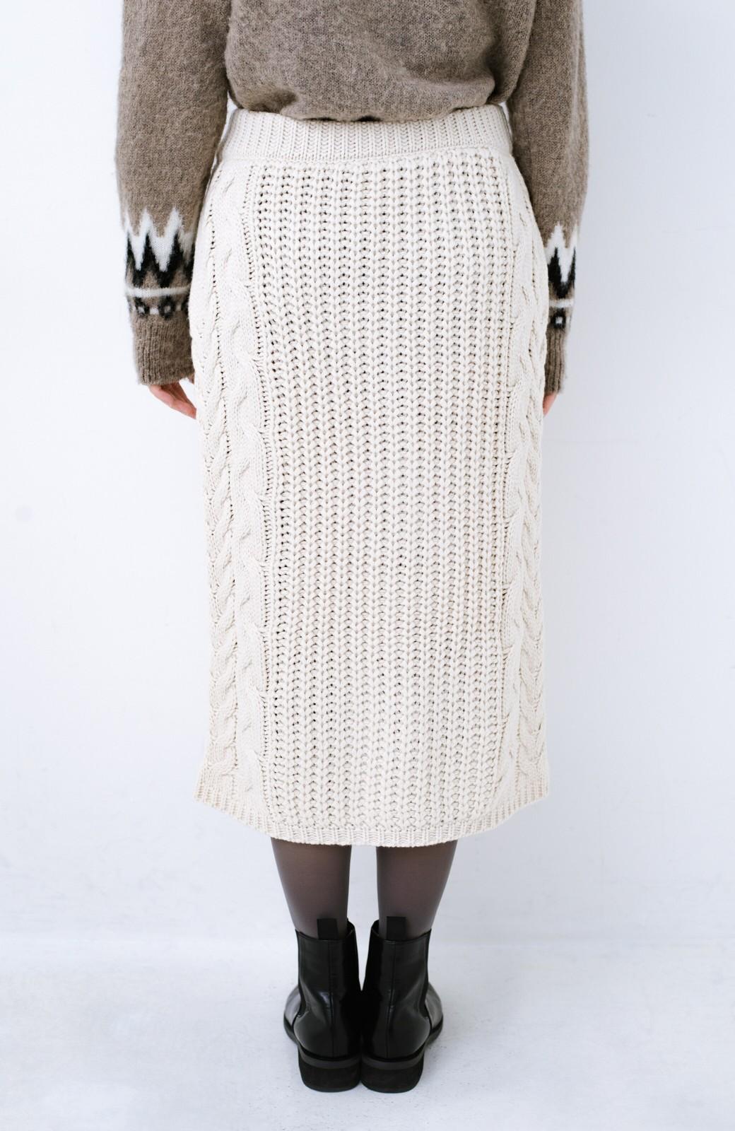 haco! 着るだけで完成するケーブル編みニットセットアップ <ライトベージュ>の商品写真27