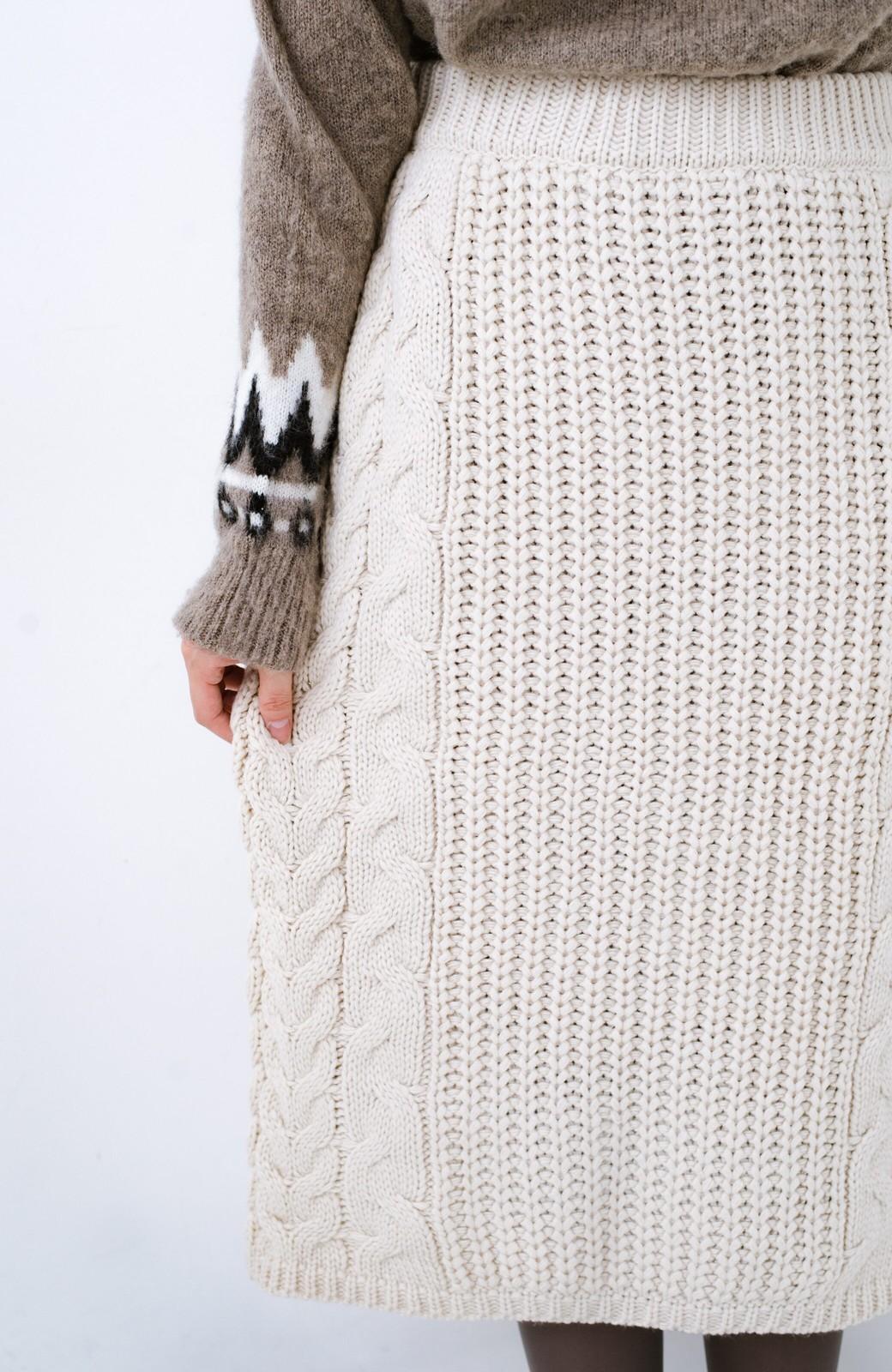 haco! 着るだけで完成するケーブル編みニットセットアップ <ライトベージュ>の商品写真28