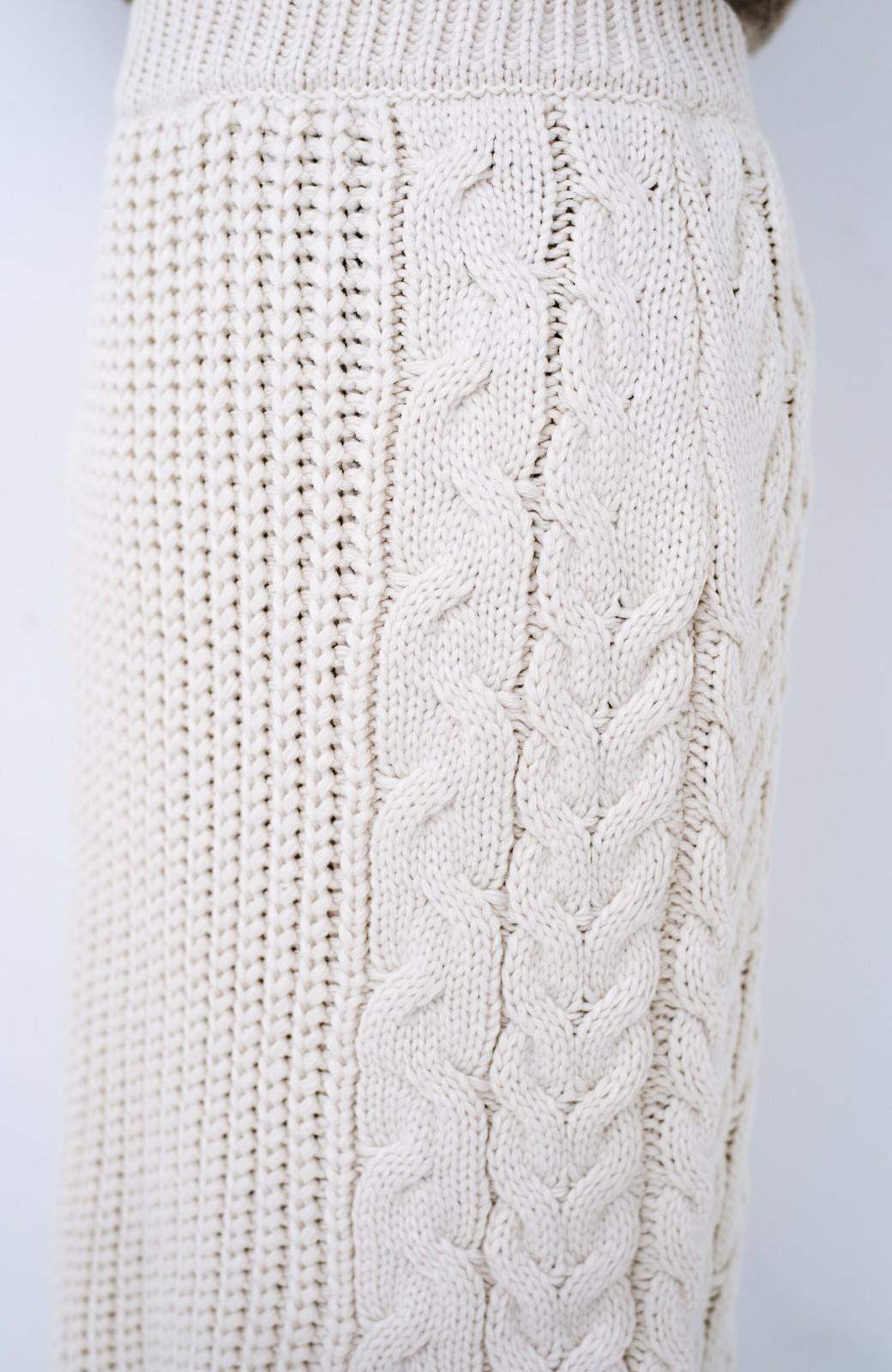 haco! 着るだけで完成するケーブル編みニットセットアップ <ライトベージュ>の商品写真29