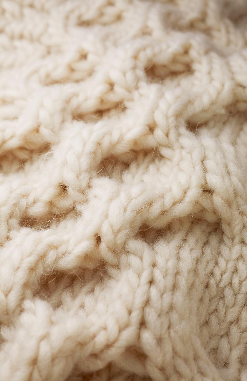 haco! 古着っぽい雰囲気がこなれたパネル編みケーブルニット <アイボリー>の商品写真3