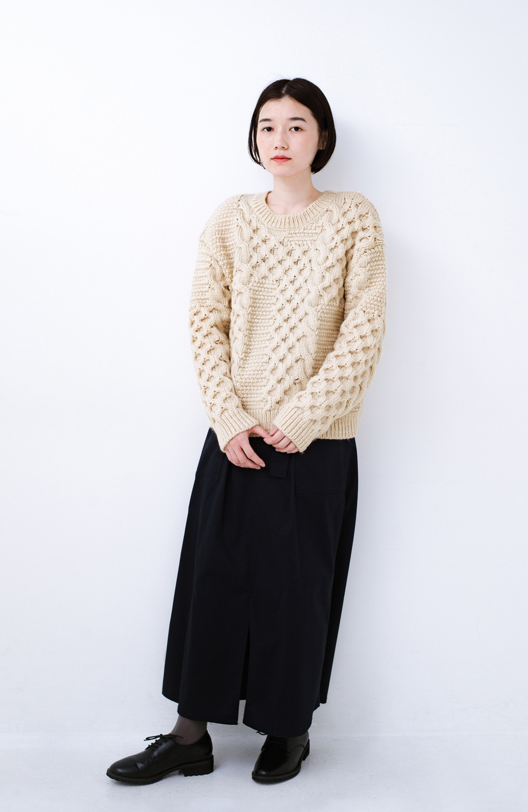 haco! 古着っぽい雰囲気がこなれたパネル編みケーブルニット <アイボリー>の商品写真8