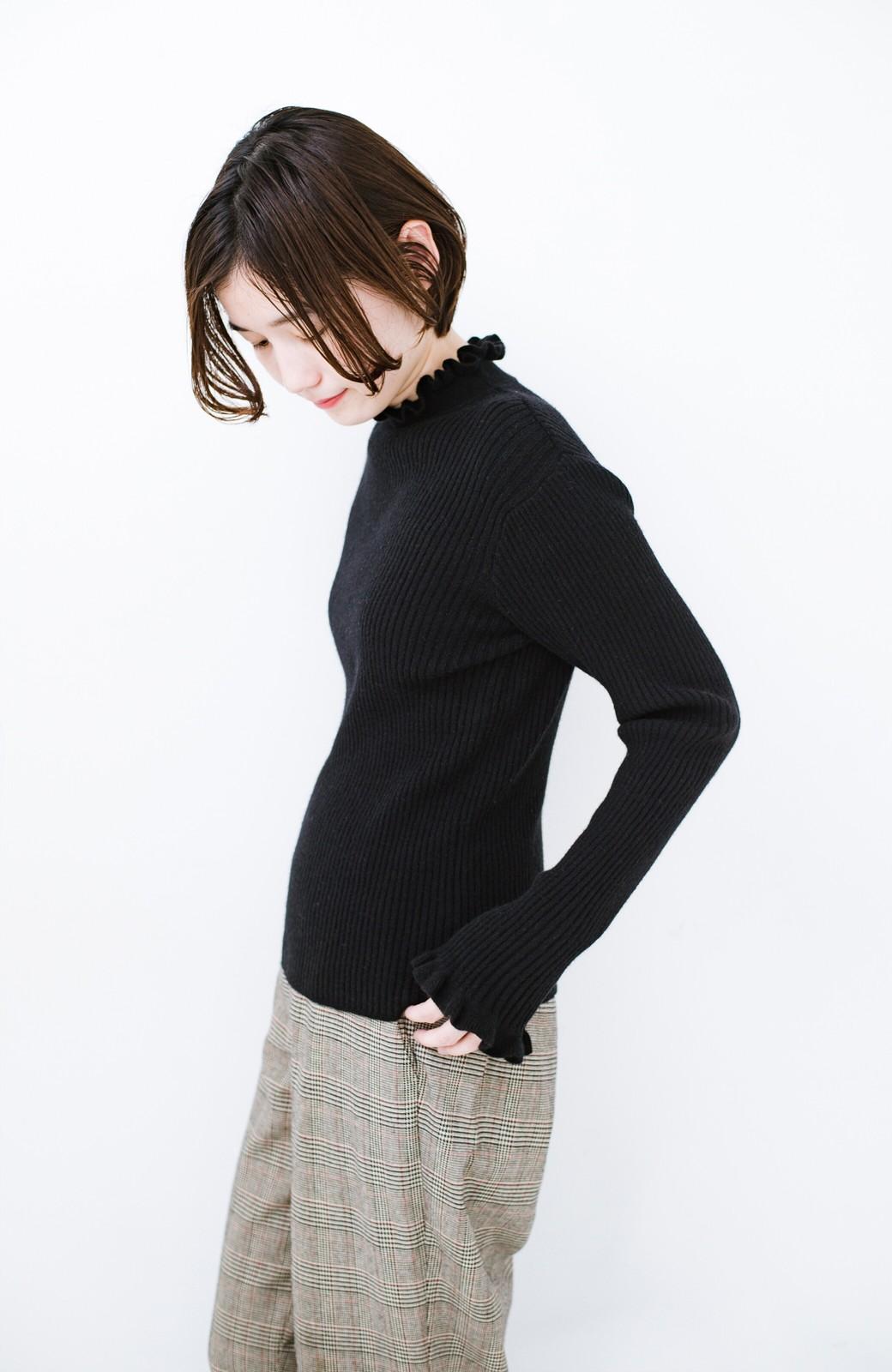 haco! パッと着るだけでかわいくなれそうな気がするフリルリブニット <ブラック>の商品写真12
