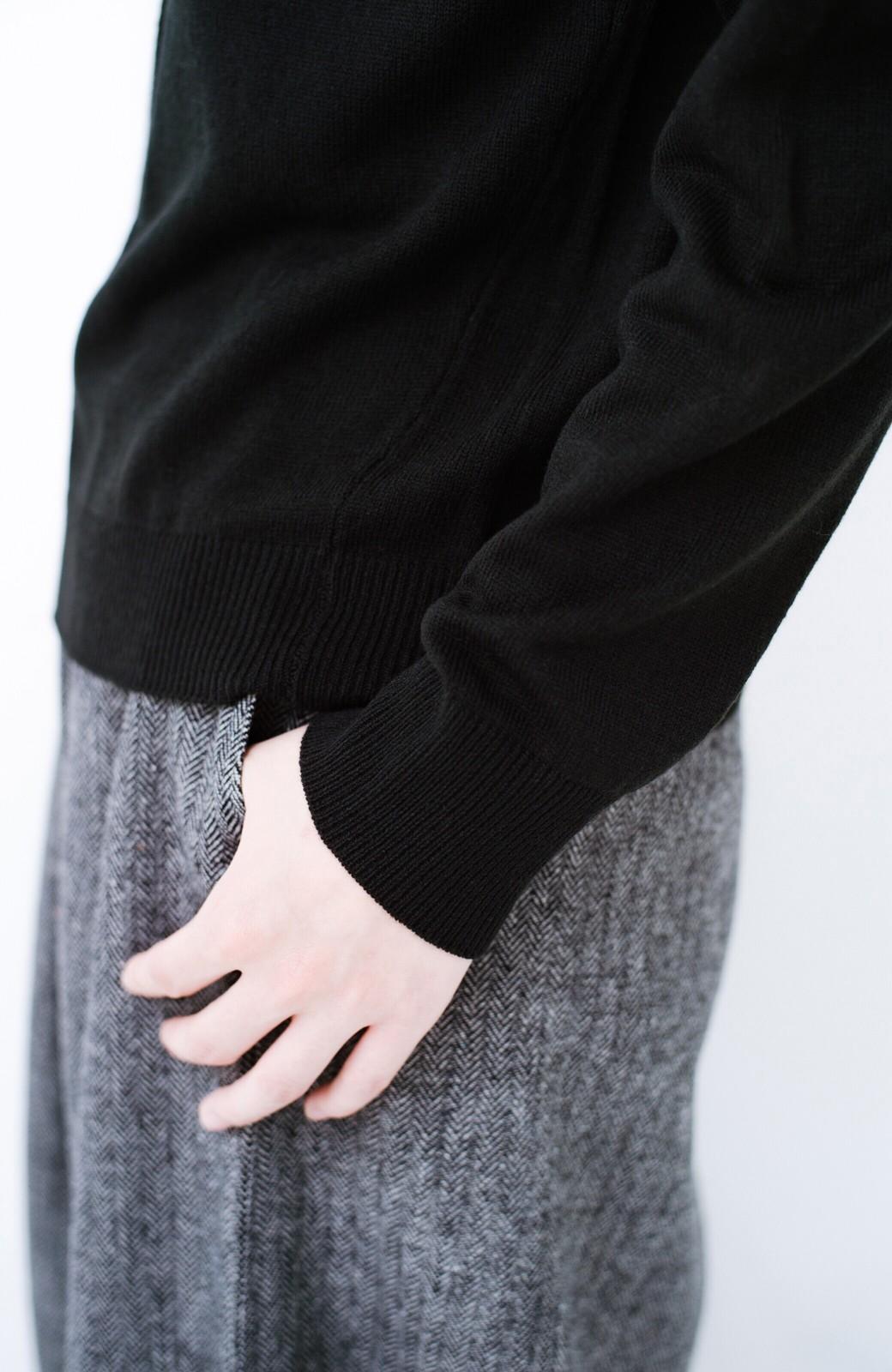 haco! 寝坊した朝でも安心!パッと着るだけでコーデが完成する女っぽニットアップ <ブラック>の商品写真4