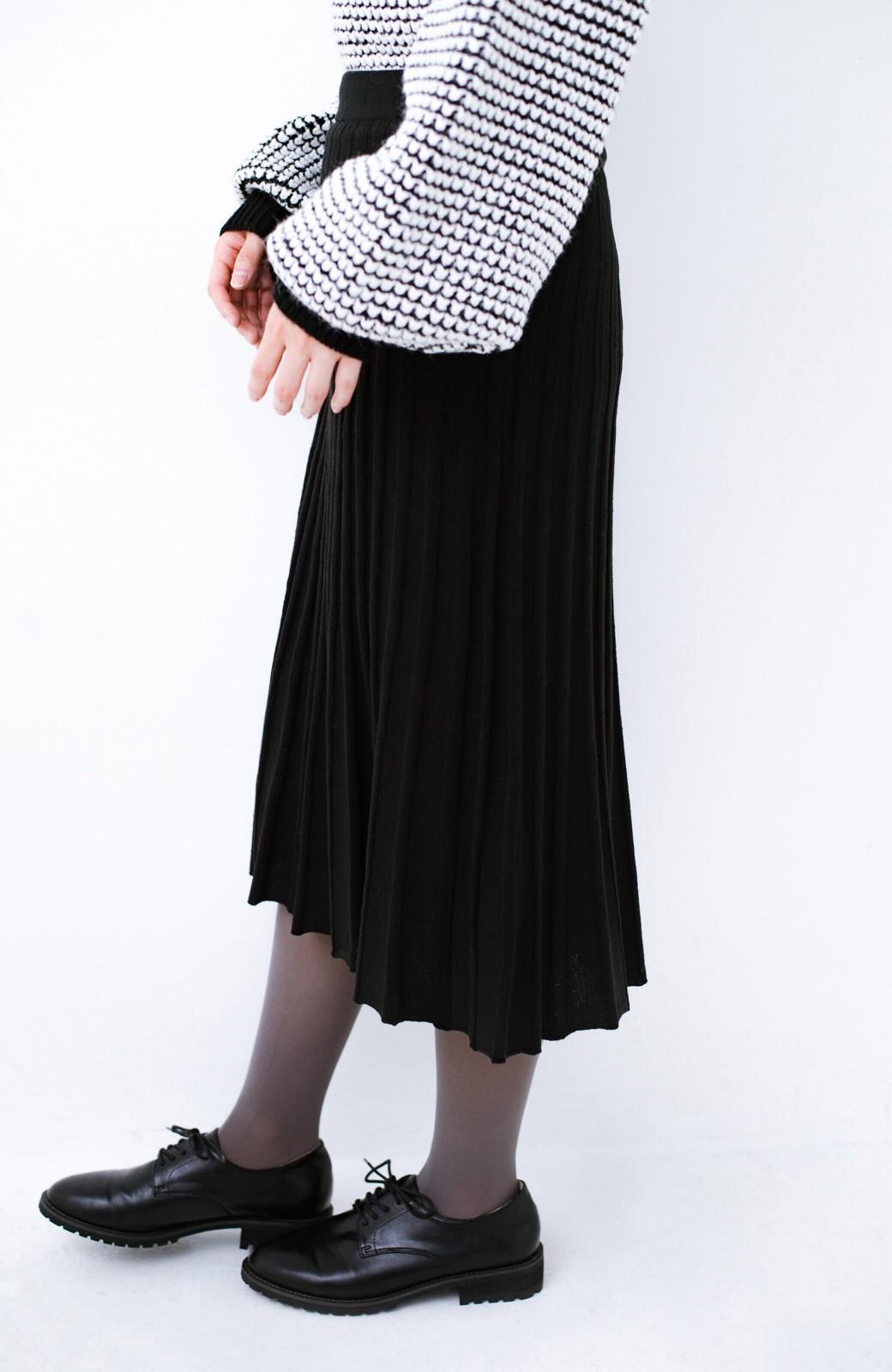 haco! 寝坊した朝でも安心!パッと着るだけでコーデが完成する女っぽニットアップ <ブラック>の商品写真6