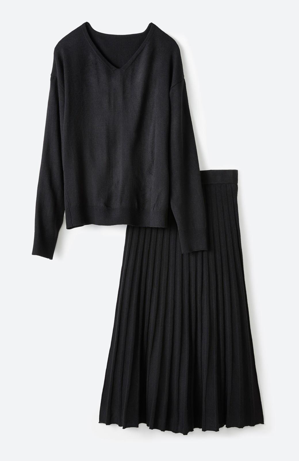 haco! 寝坊した朝でも安心!パッと着るだけでコーデが完成する女っぽニットアップ <ブラック>の商品写真1