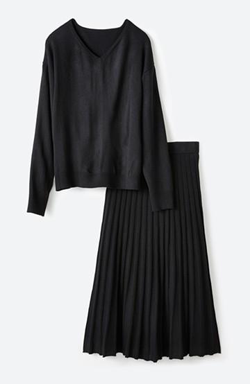 haco! 寝坊した朝でも安心!パッと着るだけでコーデが完成する女っぽニットアップ <ブラック>の商品写真