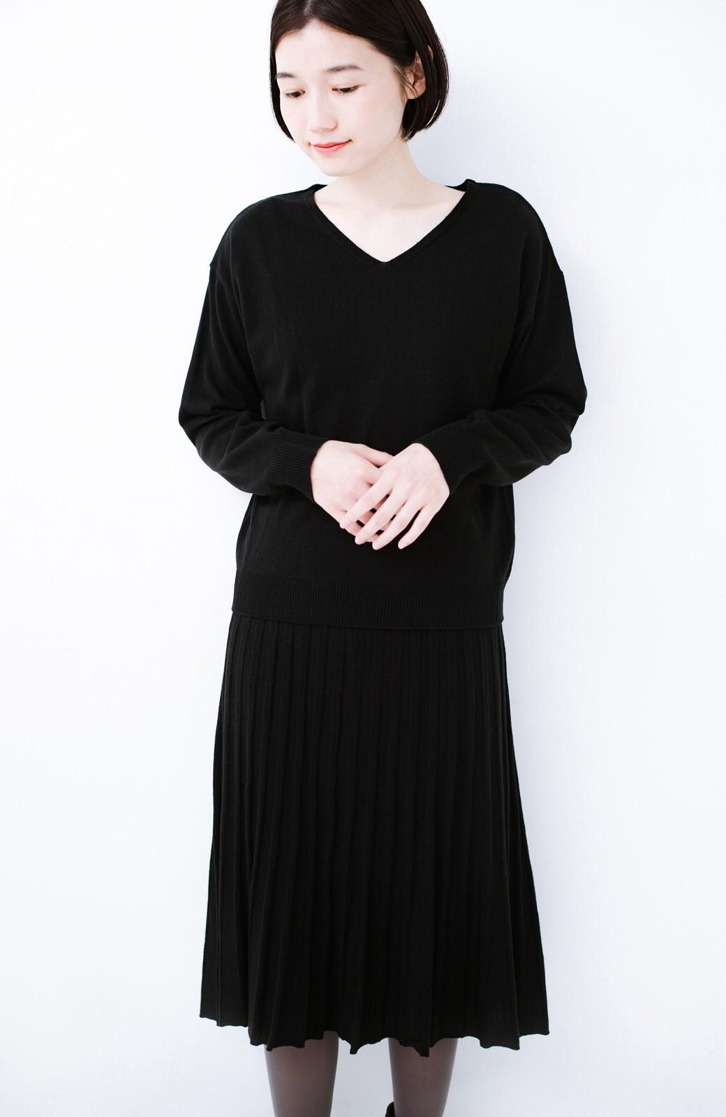 haco! 寝坊した朝でも安心!パッと着るだけでコーデが完成する女っぽニットアップ <ブラック>の商品写真21