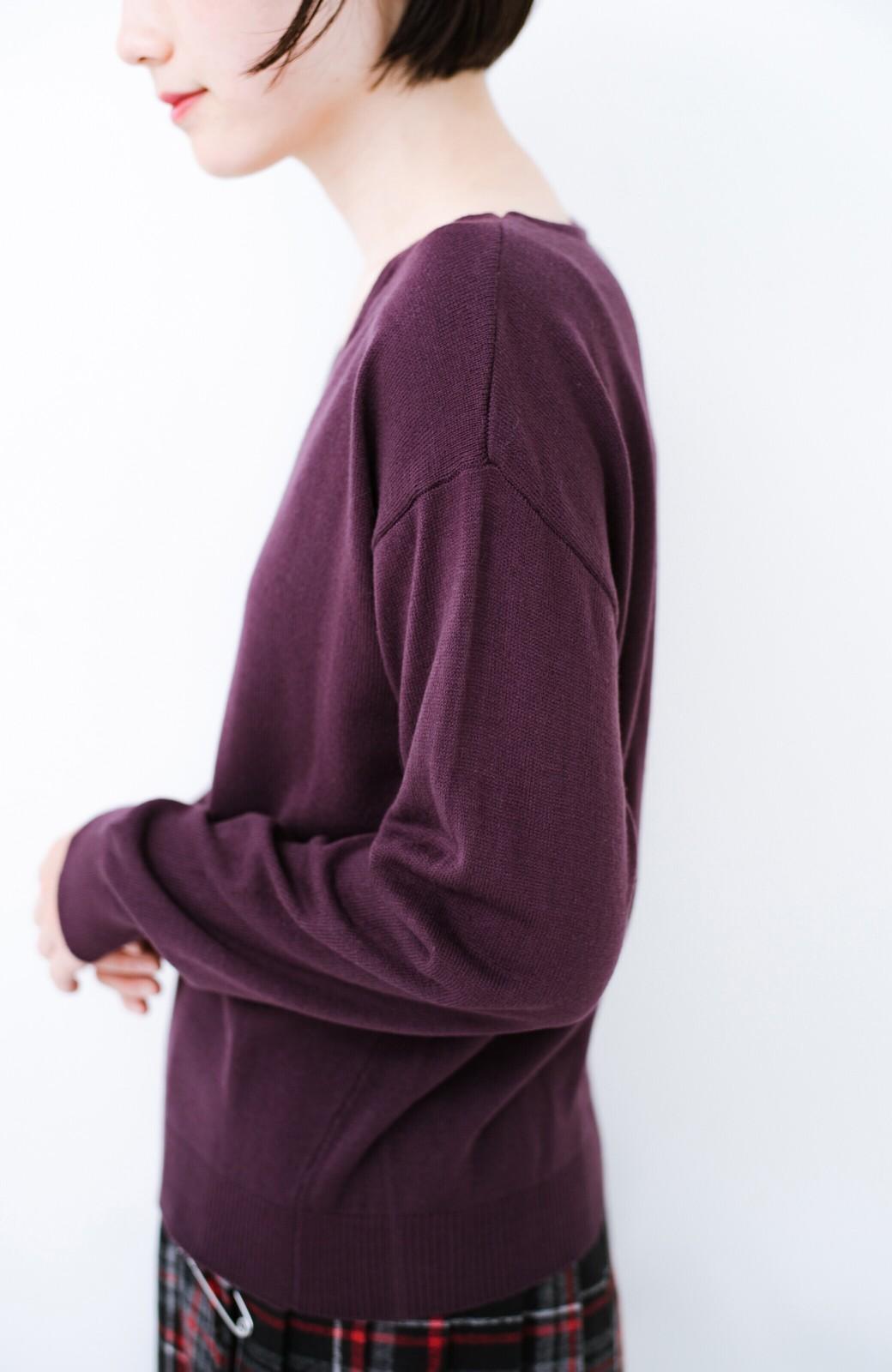 haco! 寝坊した朝でも安心!パッと着るだけでコーデが完成する女っぽニットアップ <パープル>の商品写真3