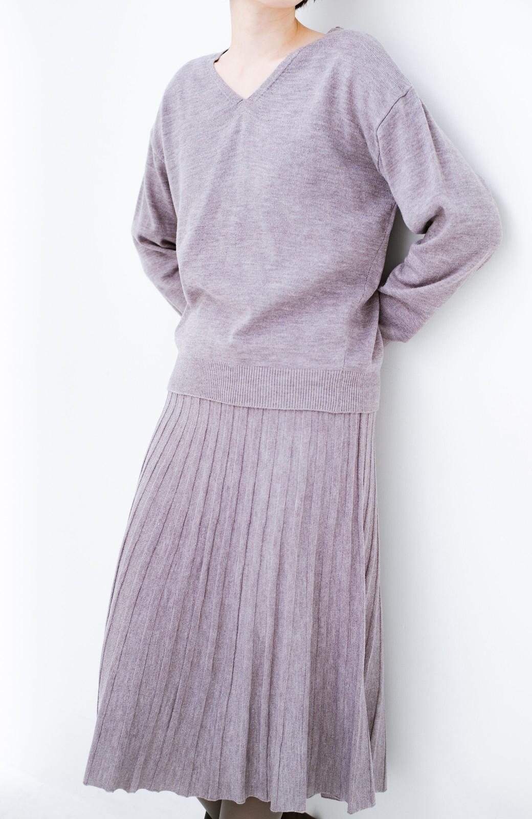 haco! 寝坊した朝でも安心!パッと着るだけでコーデが完成する女っぽニットアップ <杢グレー>の商品写真2