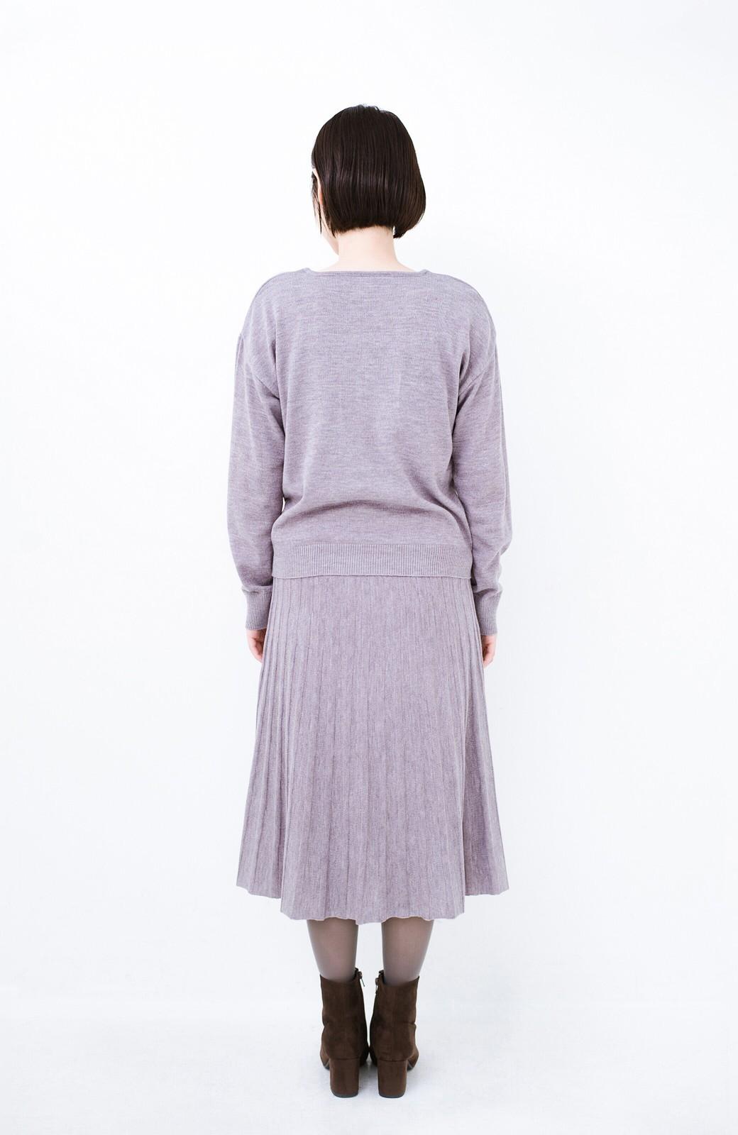 haco! 寝坊した朝でも安心!パッと着るだけでコーデが完成する女っぽニットアップ <杢グレー>の商品写真17