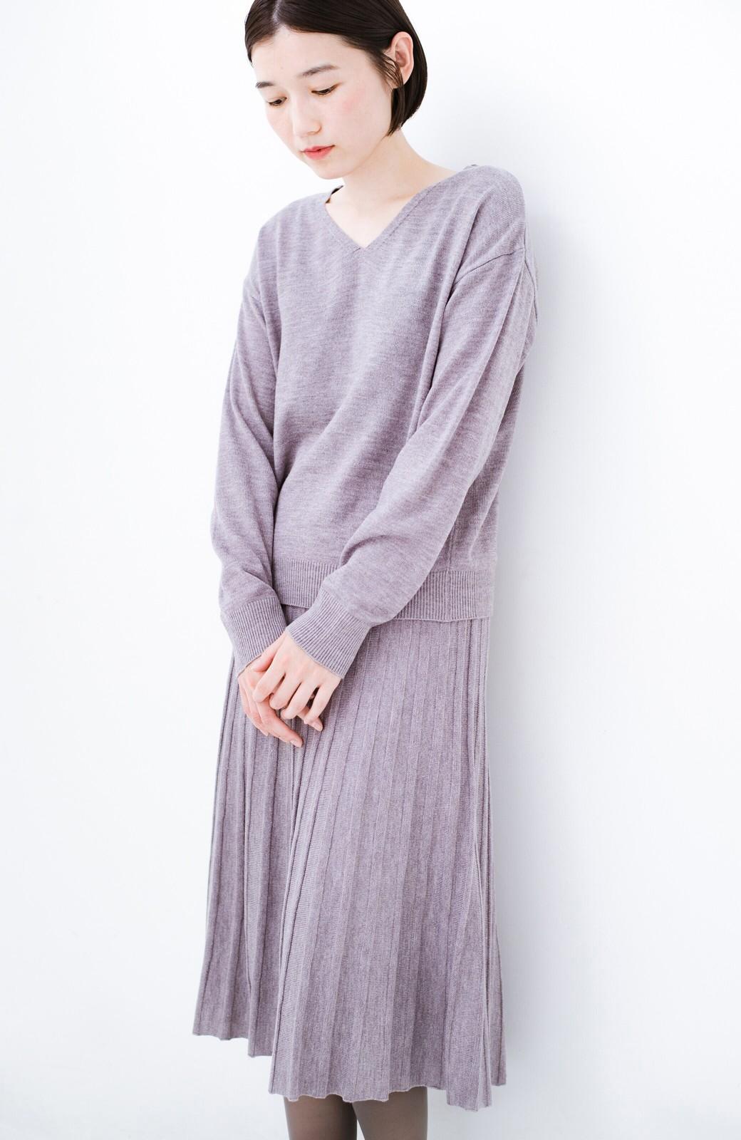 haco! 寝坊した朝でも安心!パッと着るだけでコーデが完成する女っぽニットアップ <杢グレー>の商品写真18