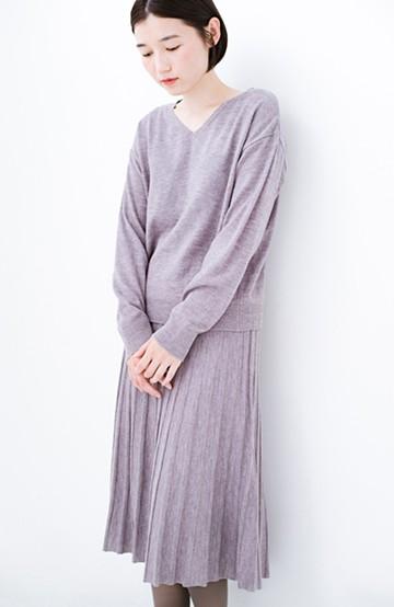 haco! 寝坊した朝でも安心!パッと着るだけでコーデが完成する女っぽニットアップ <杢グレー>の商品写真