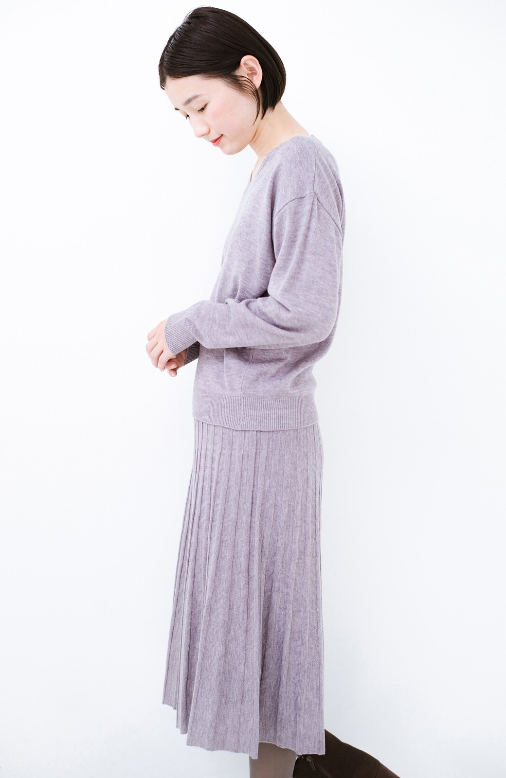 haco! 寝坊した朝でも安心!パッと着るだけでコーデが完成する女っぽニットアップ <杢グレー>の商品写真19