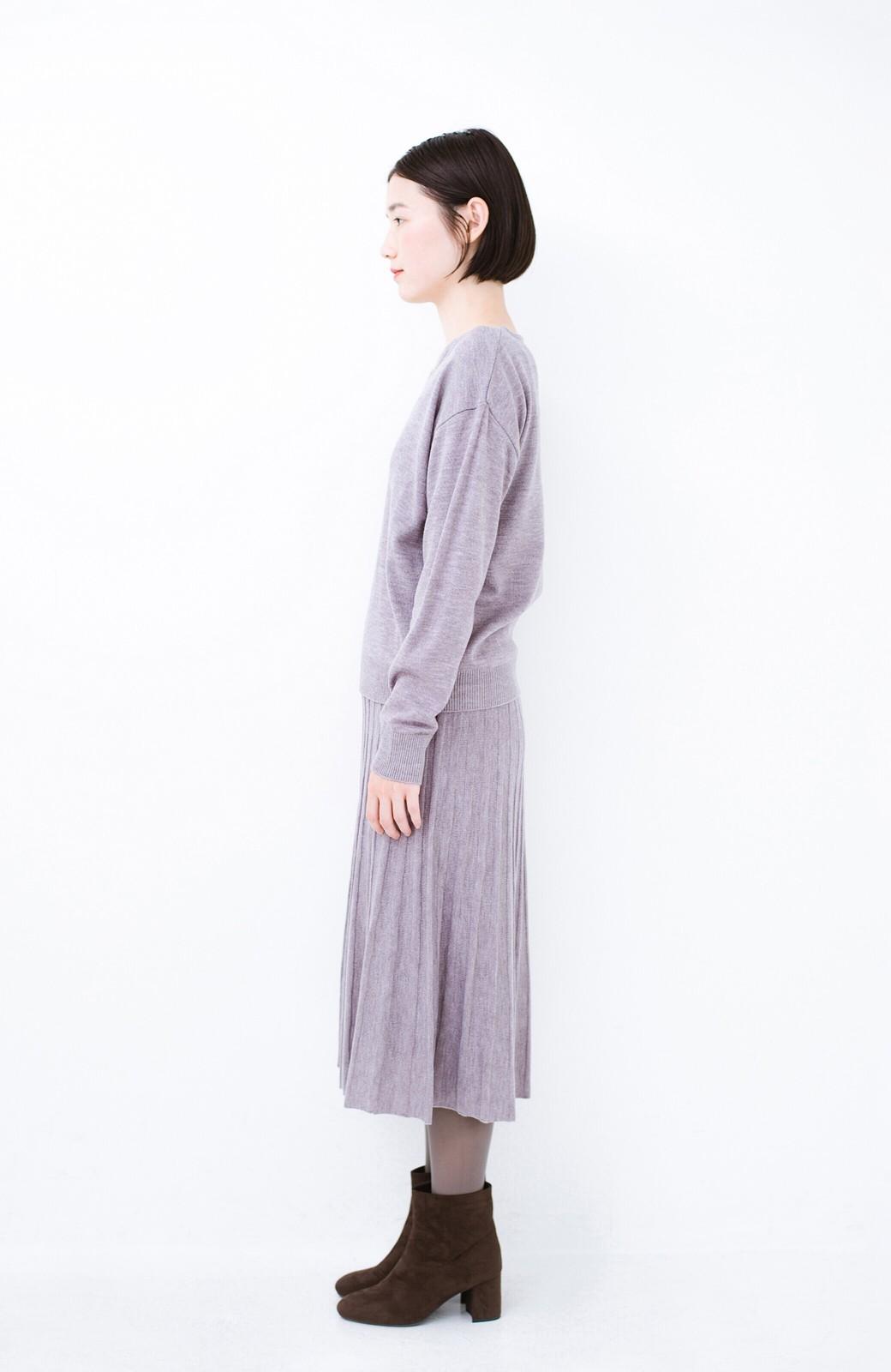 haco! 寝坊した朝でも安心!パッと着るだけでコーデが完成する女っぽニットアップ <杢グレー>の商品写真14