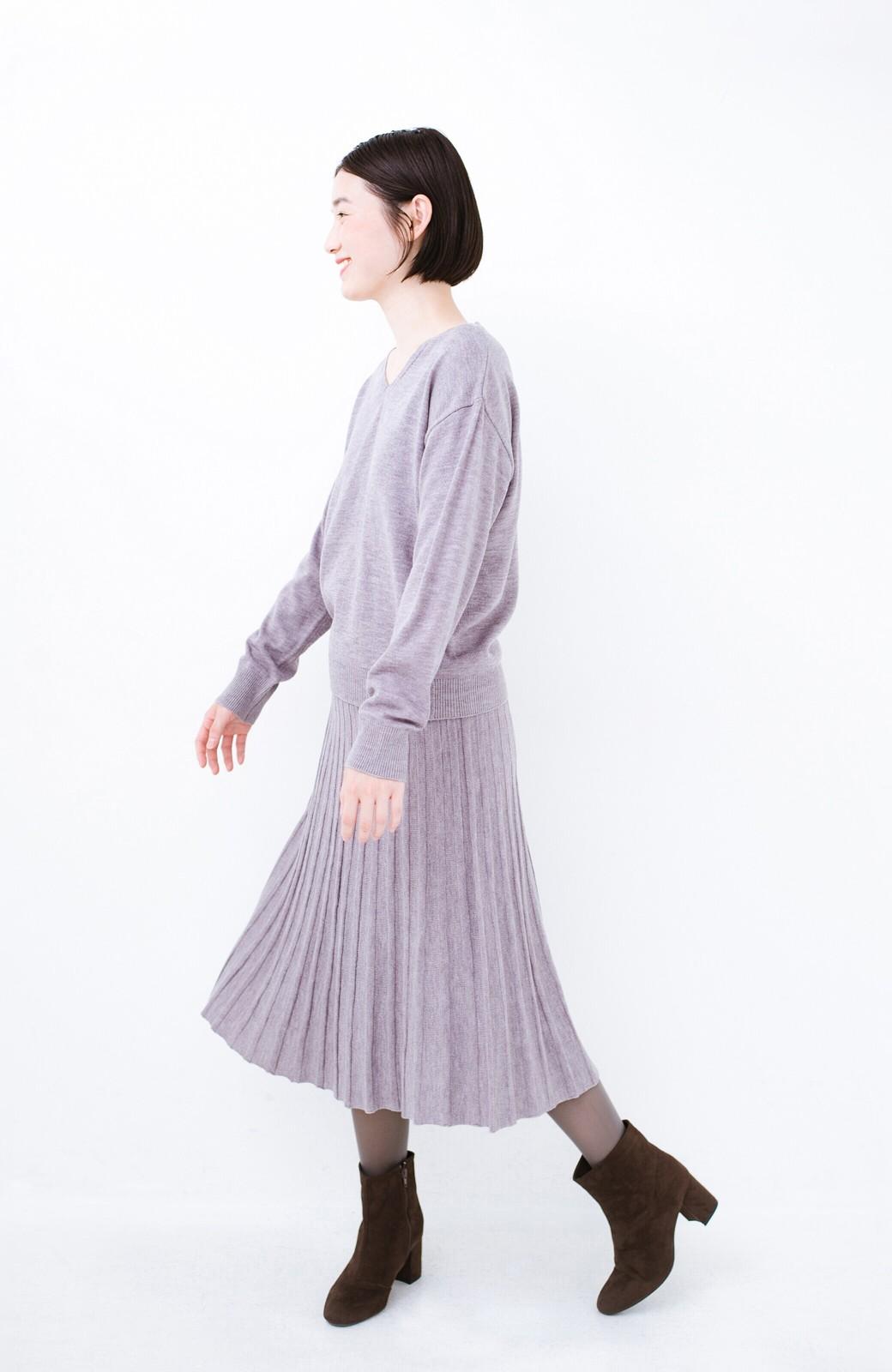 haco! 寝坊した朝でも安心!パッと着るだけでコーデが完成する女っぽニットアップ <杢グレー>の商品写真15
