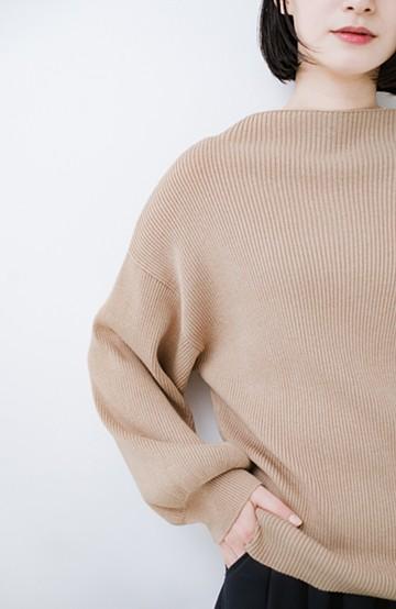 haco! シルク混素材のぷっくり袖リブニット <ベージュ>の商品写真