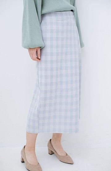haco! 動きやすいのにちゃんと女子見え スカートみたいな華やかチェックパンツ <グレー系その他>の商品写真