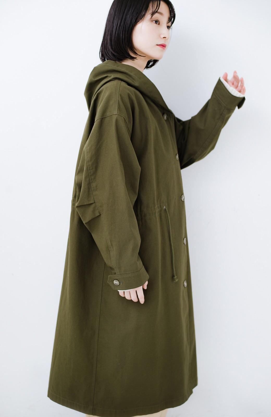 haco! ニットにもTシャツにも合う ロングシーズン着回せるミリタリービッグコート <カーキ>の商品写真18