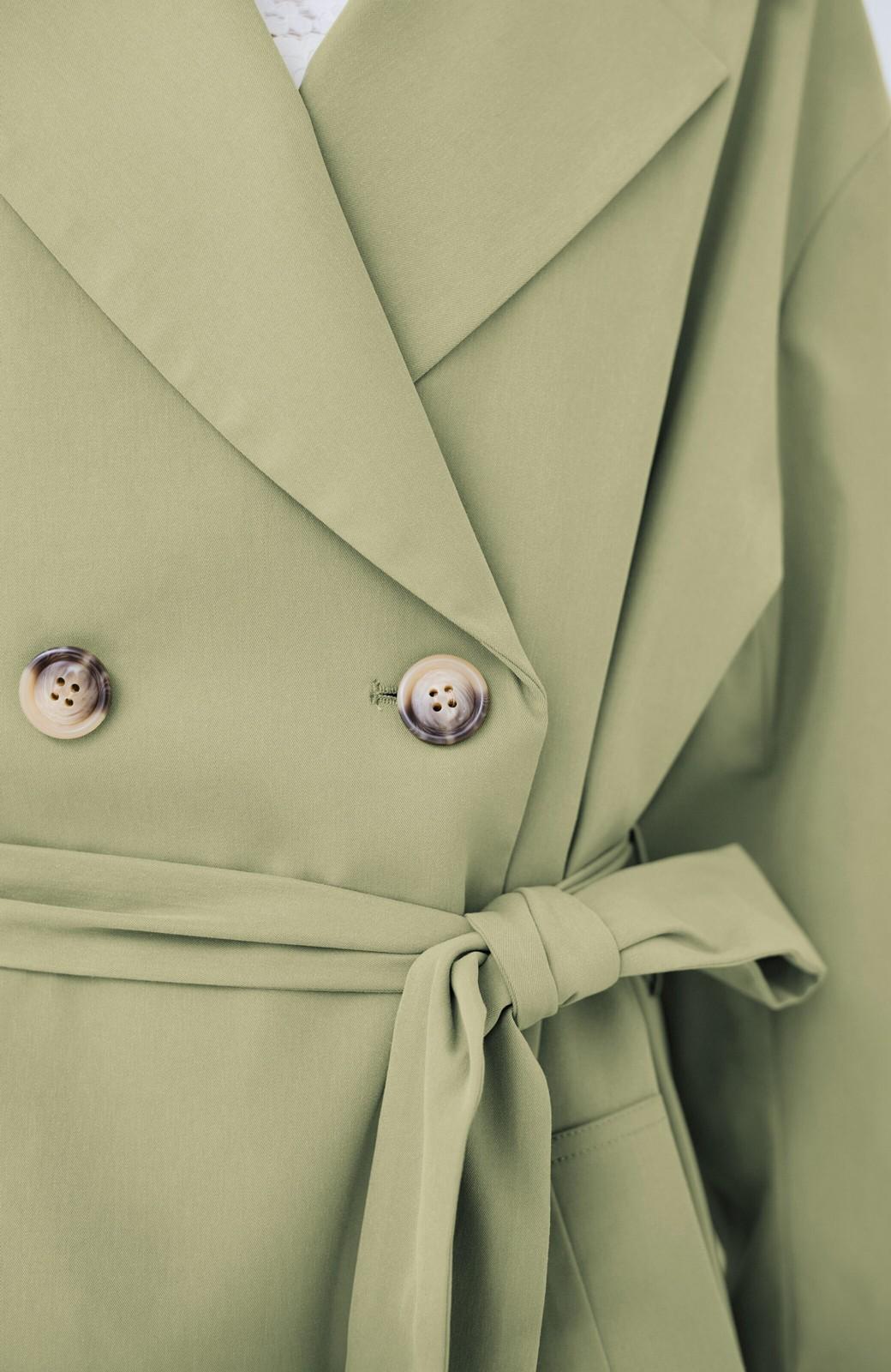 haco! いつものデニムを女っぽく仕上げてくれる ウエストリボンコート <ライトカーキ>の商品写真4