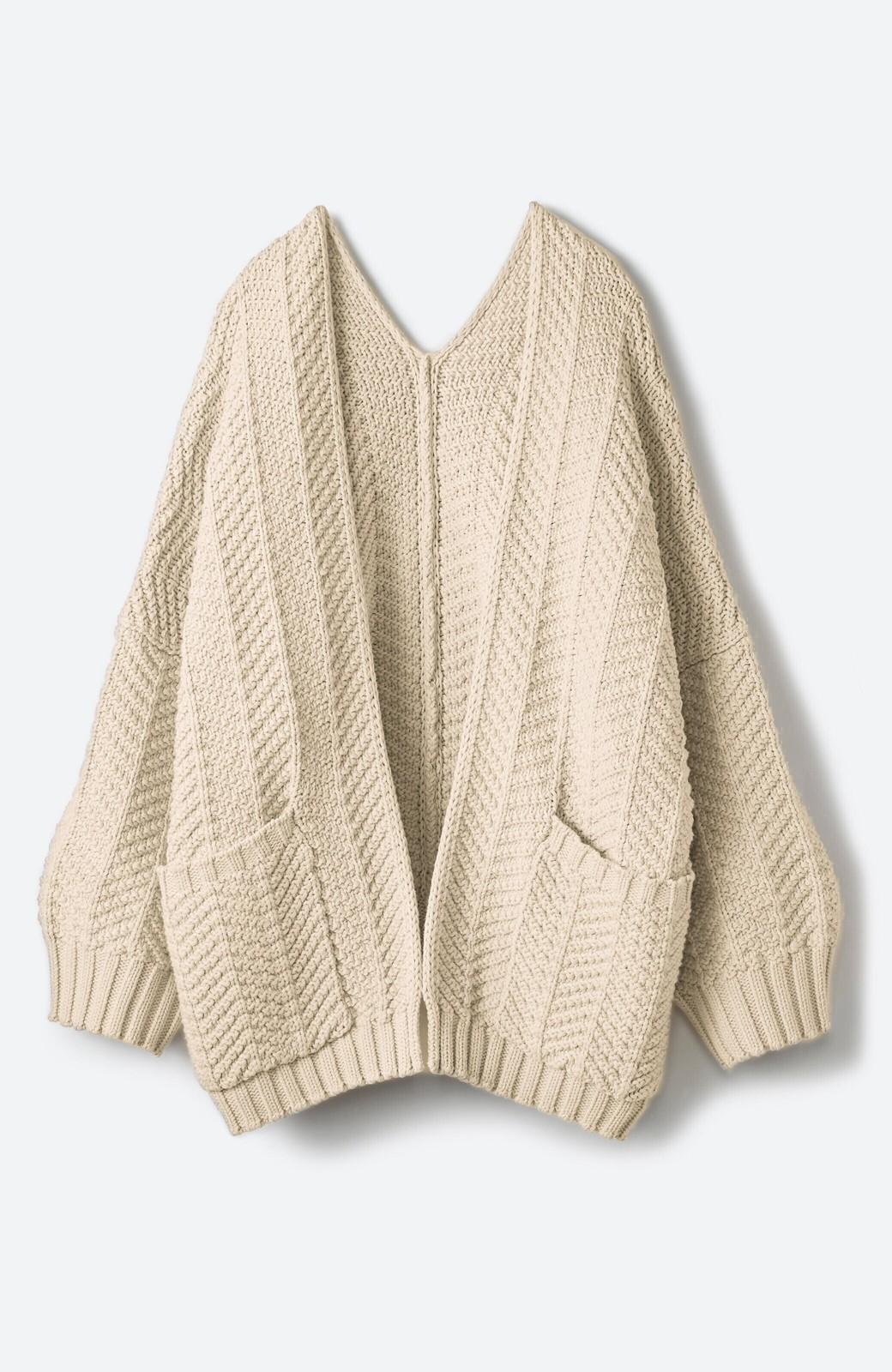 haco! パッと羽織るだけでいつものコーデがぐんとかわいくなれる! 柄編みニットカーディガン <ベージュ>の商品写真1