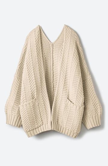 haco! パッと羽織るだけでいつものコーデがぐんとかわいくなれる! 柄編みニットカーディガン <ベージュ>の商品写真